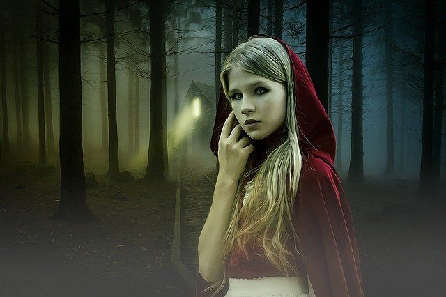 Little red riding hood in a spooky forest